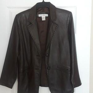 Brown petite small leather jacket: Preswick & Moor